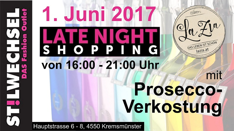 Stilwechsel, DAS Fashion Outlet - LateNightShopping mit ProseccoVerkostung